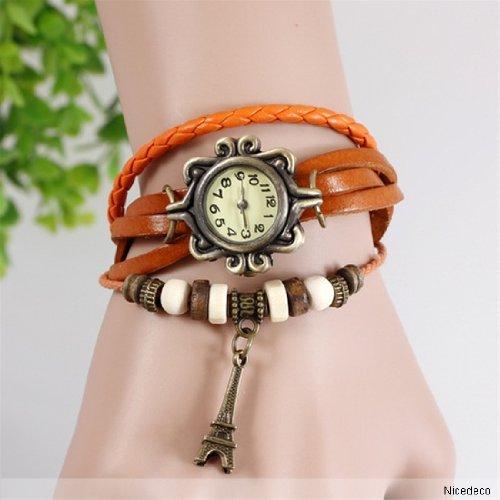 Nicedeco - Orange,Fashion Accessories Trial Order Quartz Weave Wrap Around Leather Bracelet Lady Woman Wrist Watch,Eiffel Tower Pendant