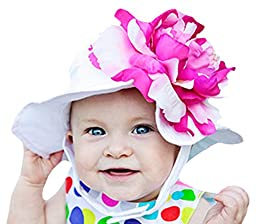 Melondipity Girls Coconut Sorbet Baby Sun Hat - Bucket Cap with Huge Pink and White Peony Flower, Premium Construction (12 - 24 Months)