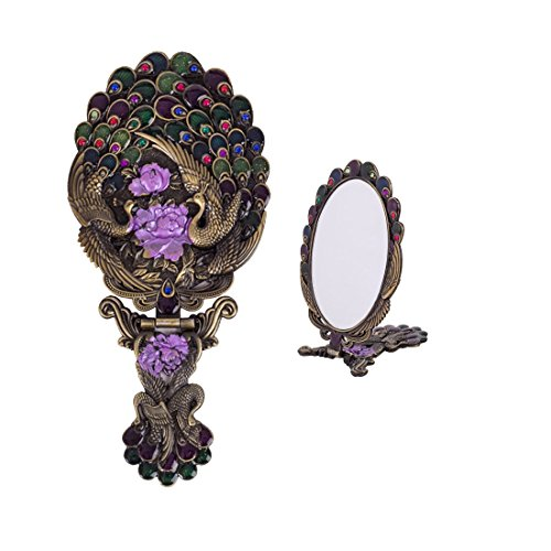 MOIOM Vintage Style Metal Foldable Oval Peacock Flower Pattern Makeup Hand/Table Mirror (Bronze) 0