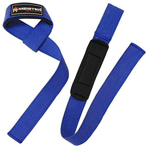 Meister Neoprene-Padded No-Slip Weight Lifting Straps for Grip (Pair) - Blue (Lifting Straps Padded compare prices)