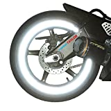 """customTAYLOR33 (All Vehicles) White/Silver/Chrome High Intensity Grade Reflective Copyrighted Safety Rim Tapes (Must select your rim size), 17"""" (Rim Size for Most SportsBikes)"""