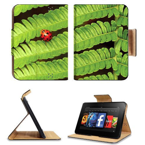 Spring Green Leaves Ladybug Amazon Kindle Fire Hd 7 [2012 Version Only September 14, 2012] Flip Case Stand Magnetic Cover Open Ports Customized Made To Order Support Ready Premium Deluxe Pu Leather 7 11/16 Inch (195Mm) X 5 11/16 Inch (145Mm) X 11/16 Inch front-951026