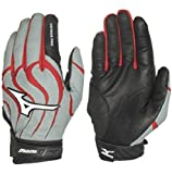 1 Pair Mizuno Vintage Pro G4 Medium Grey / Red Adult Batting Gloves New!