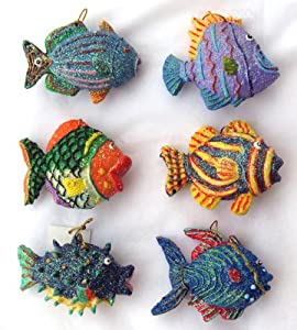 #!Cheap Set of 6 Tropical Fish Decor or Christmas Ornament New