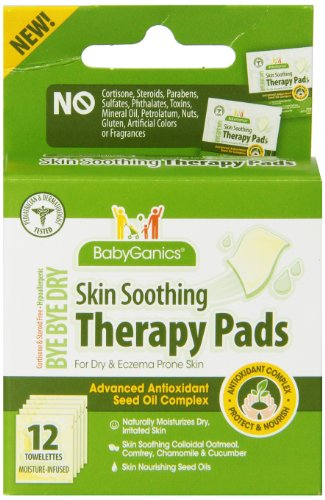 Babyganics Bye Bye Dry Skin Soothing Therapy Pads, 12 Towelettes, Packaging May Vary