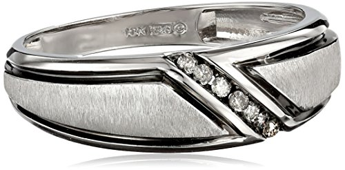 Men's 10k White Gold Satin Finish with Diamond-Accent Ring (0.05 cttw, J-K Color, I2-I3 Clarity), Size 11