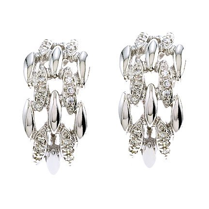 C.Z. Diamond Versatile Sterling Silver Clip With Post Earrings (Nice Holiday Gift, Special Black Firday Sale)