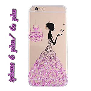 Fancy Rhinestone wedding dress 3D Relief art luxury crystal hard back cover phone case for iPhone 6 + and 6s Plus 5.5 inch Purplish Pink With Free One Set Lightning saver / Cable Saver