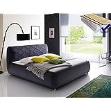 Polsterbett Antoni Bett 180x200 cm anthrazit + Lattenrost + Matratze Bezugstoff Doppelbett Designerbett