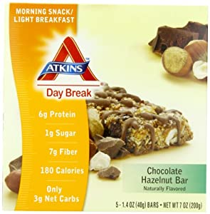 Atkins Day Break, Chocolate Hazelnut Bar, 1.40 oz Bars, 5 count box ( pack of 2)