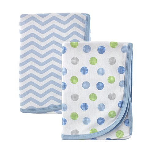 Luvable Friends 2 Piece Cotton Receiving Blankets, Blue Dots - 1