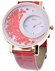 Bollywood Designer Stylish Free Diamond Dial Fancy Leather Watch For Girls And Women (Red)