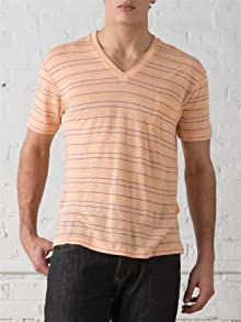 Linen Striped V-Neck