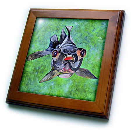 Ft_46714_1 Taiche - Acrylic Painting - Fish - Black Moor Goldfish - Black Moor Goldfish, Telescope Goldfish, Goldfish, Dragon Eye Goldfish - Framed Tiles - 8X8 Framed Tile