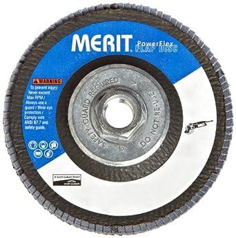 """Merit Flap Disc, Type 29, , 5/8""""-11 Arbor, Zirconia Alumina, 4-1/2"""" Diameter, Grit 80  (Pack of 10)"""
