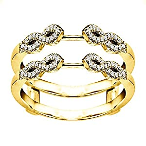 0.38CT Diamonds Infinity Ring Guard Enhancer set in Yellow Plated Sterling Silver (0.38CT TWT Diamonds G-H SI2-I1 )