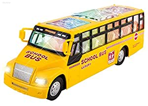 WolVol Wol Vol Electric Small Yellow School Bus Toy With Nice Flashing Lights And Music, Goes Around And Changes Directions On Contact