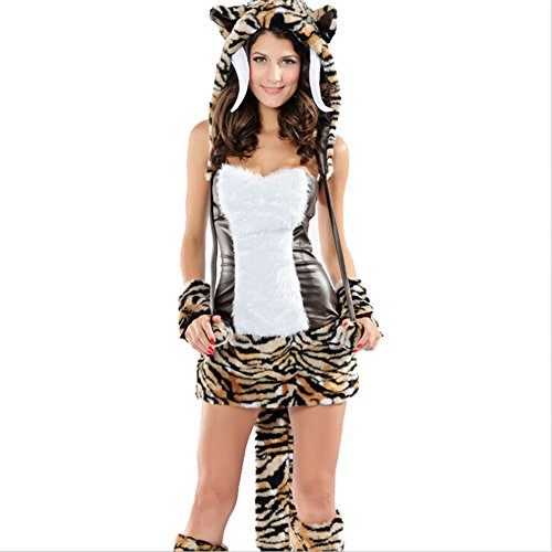 Afoxsos Women's Artificial Rabbit Fur Tiger Cosplay Halloween Costume