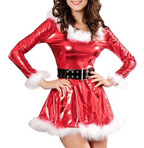 ZL-MDS Women's Sexy Santa Christamas Bodycon Costume Mini Dress With Belt Red
