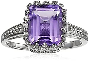 Amethyst Emerald Cut Ring in Sterling Silver, Size 6