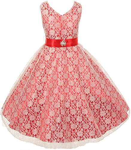 Lace Overlay Special Occasion Dress with Satin Sash & Rhinestone Brooch for Big Girl Red 16 30.27