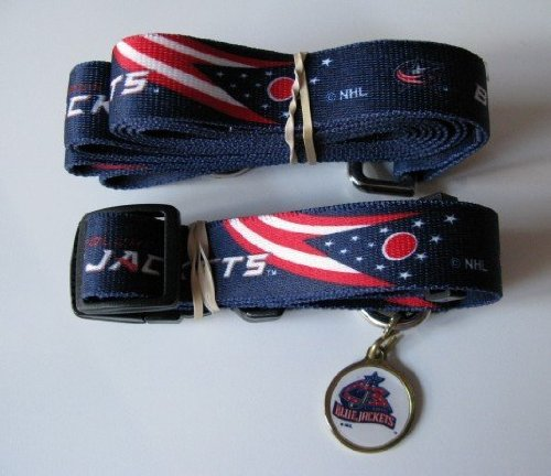Columbus Blue Jackets Pet Accessories Set - Medium (6' Leash, Collar, and ID Tag)