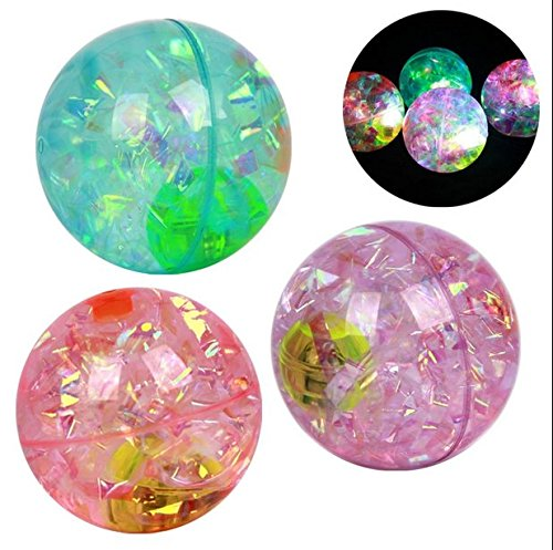 Ning-store 55mm Kids Have Fun Toys LED Light up Jumping Ball Color Changing Bouncing Ball Super Duper Glitter Water Ball Elastic Colorful Flashing Ball (Price for One Bounce Ball, Send Randomly) - 1