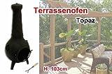 Grill Terrassen Ofen Kamin Topaz schwarz 103 cm Guß Eisen