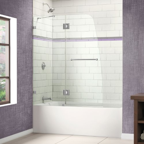 Best Prices! DreamLine AquaLux 48 in. Frameless Hinged Tub Door, Chrome Finish, SHDR-3348588-01