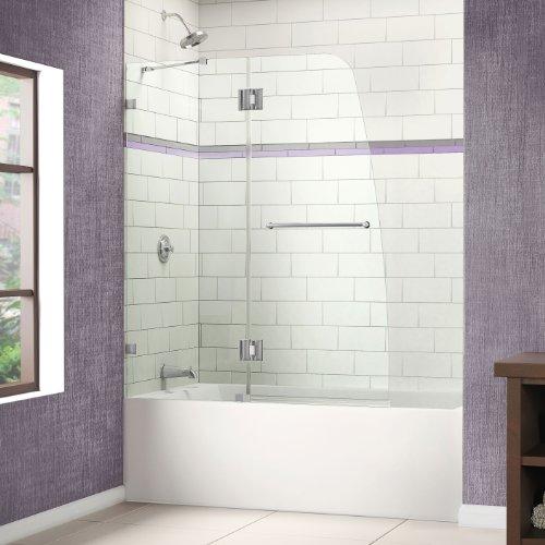 Best Prices! DreamLine AquaLux 48 in. Frameless Hinged Tub Door, Chrome Finish, SHDR-3348588-01