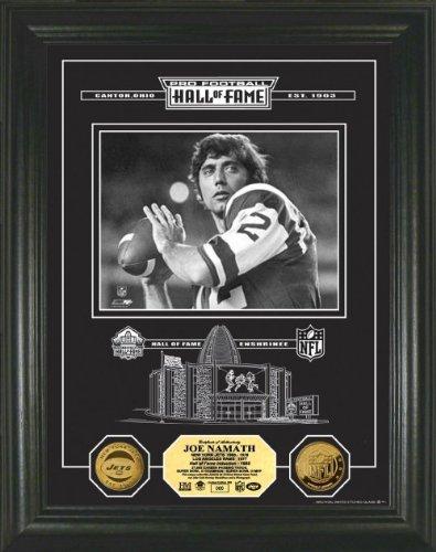 Joe Namath Framed New York Jets Hof Archival Etched Glass 24Kt Gold Coin Photo Mint