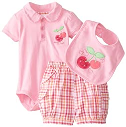 Peanut Buttons Baby-Girls Newborn Girl 3 Piece Cherries Shorts Set with Bib, Pink, 3-6 Months