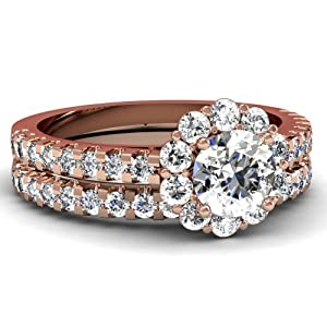 Lovely Flora Cathedral Designer 1.50 Ct Round Diamond Pave Bridal Rings Set 14K GIA Certificate # 2166286996