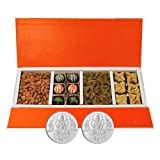 Chocholik Belgium Chocolates - Rich Treat Of Almonds, Raisin,truffles And Baklava Gift Box With 5gm X 2 Pure Silver...