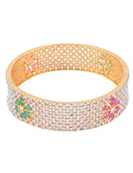 1.Trisha Jewels Rang Collection 24 Karat Gold Plated With Cubic Zirconia Stones Bangle For Women