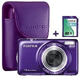 Bundle: Fuji JX370 Purple Digital Camera +4GB + Soft Case (Fujifilm Finepix 14MP 5x Optical Zoom 2.7