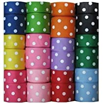 Grosgrain Ribbon Dots Group 24 Rolls 7/8 1.5 24 Yards