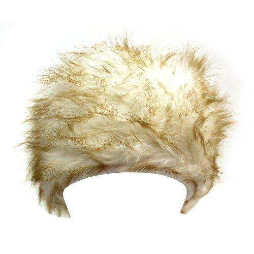 White & Brown Luxurious Plush Faux Fur Pill Box Hat