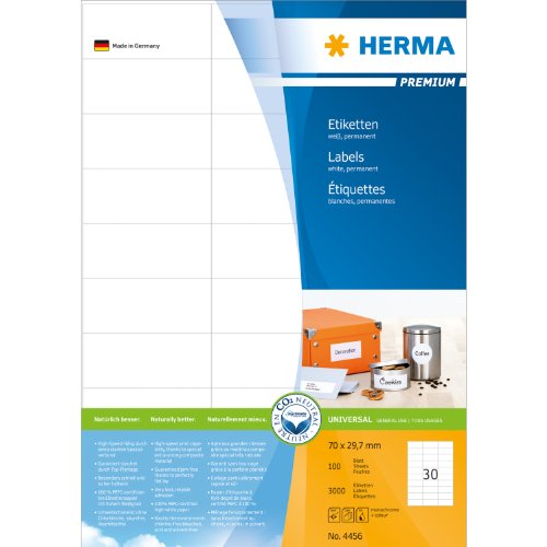 HERMA 4456 70x29.7mm Colour Laser Paper Rectangular Premium Addressing Labels - Matte White (3000 Labels, 30 per Sheet)