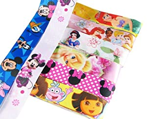 "8x3yd 1"" Disney Princess/Dora Satin/Grosgrain Ribbon Combo"
