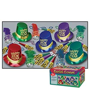 New Years Party Pack - A fun party for 10 in a box - Hats, Streamers, Horns, Tiaras, Necklaces