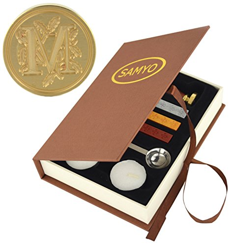 Samyo Stamp Seal Sealing Wax Vintage Classic Old-Fashioned Antique Alphabet Initial Letter Set Brass Color Creative Romantic Stamp Maker (M) (Seal Wax Set compare prices)