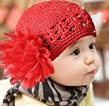 Susen Brand New Fashion Cute Baby Handmade Mesh Double Flower Cotton Cap Christmas Hats (Red)