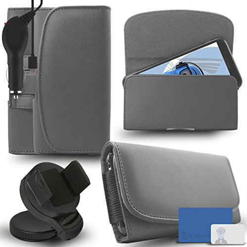 iTALKonline Samsung Galaxy A5 SM-A500G/DS Grey PREMIUM PU Leather horizontal Executive Side Pouch Case Cover Holster with Belt Loop Clip and Magnetic Closure and 1000 mAh Coiled In Car Charger LED Indicator and Overload Protection  available at amazon for Rs.660