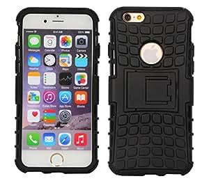 Cubix Defender Series Detachable Hybrid TPU + PC Kickstand Case Cover for Apple iPhone 6 Plus (Black)