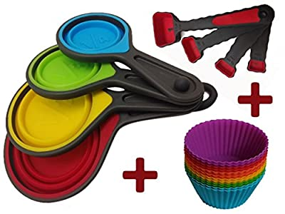 Joy of Kitchen Colorful Silicone Collapsible Folding Measuring Cups and Spoons 8 Piece Set + Exclusive Bonus Silicone Baking Cups/ Muffin Cups/ Cupcake Molds Reusable and Non Stick 12 Pieces