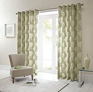 Forest Trees Green Cream 66x54 Ring Top Lined Curtains #seertdnaldoow *cur* from Curtains