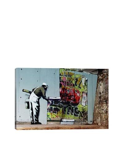Banksy Graffiti Wallpaper Hanging Ultrachrome Canvas Print