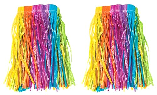Set Of 2 Child Size Luau Party Hula Skirts ~ Tropical Vibrant Rainbow Colored