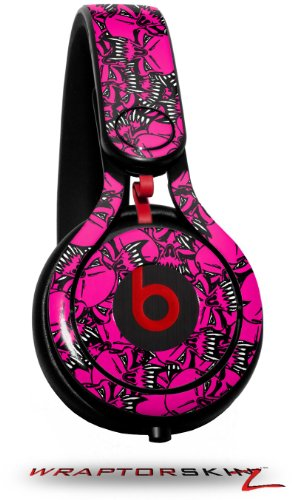 Scattered Skulls Hot Pink Decal Style Skin (Fits Genuine Beats Mixr Headphones - Headphones Not Included)